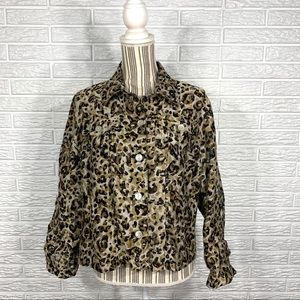 Ruby Rd Favorites Petites Sheer Leopard Button Up